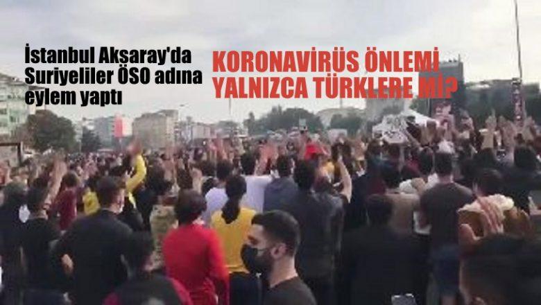 İstanbul'da Suriyeliler ÖSO adına eylem yaptı