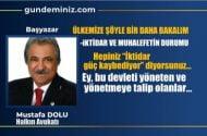 Mustafa DOLU: Ülkemize şöyle bir daha bakalım