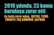 2019 yılında 23 kamu kuruluşu zarar etti