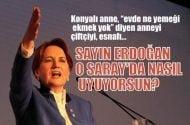 Meral Akşener: Sayın Erdoğan o Saray'da nasıl uyuyorsun?