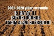 2001-2020 yılları arasında 15 Hatay ili büyüklüğünde tarım alanı kaybedildi