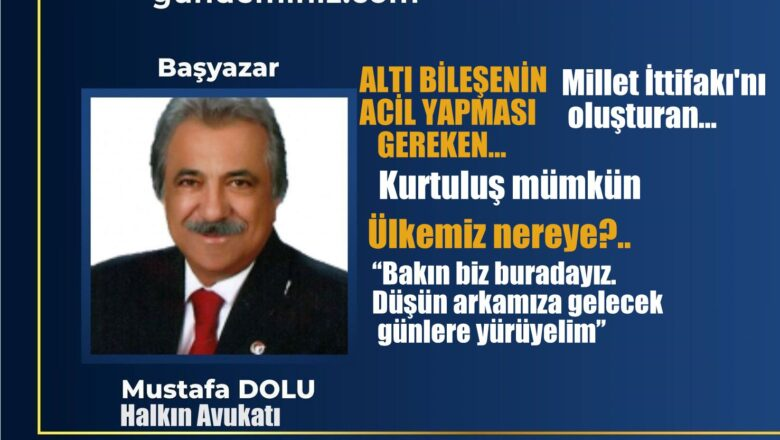 Mustafa DOLU: 6 bileşenin acil yapması gereken