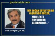 """Celil Cengiz ÇOLAK:  """"Bir soğan soyuluyor da yaşarıyor gözler, memleket soyuluyor aldırmıyor …"""""""